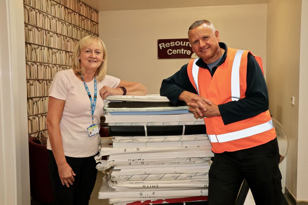 Toby Clark, of Challenge Supply Company, is pictured with Lindsey Richards of the hospice.