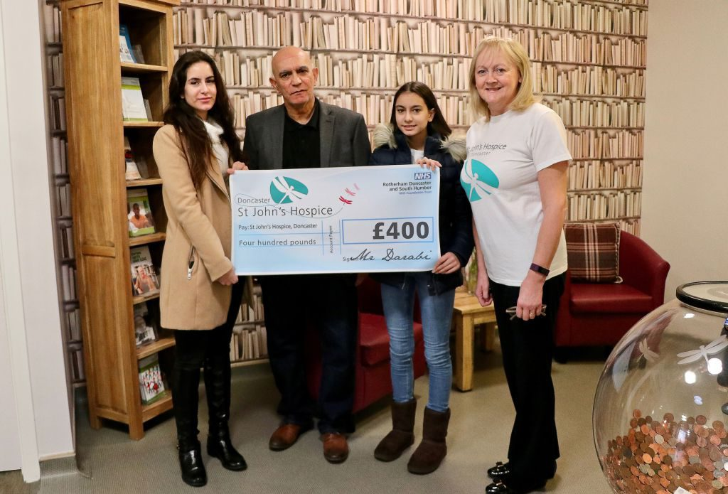 (left to right): Lucy; Mohammed Darabi; Libby and Lindsey Richards, of the hospice.