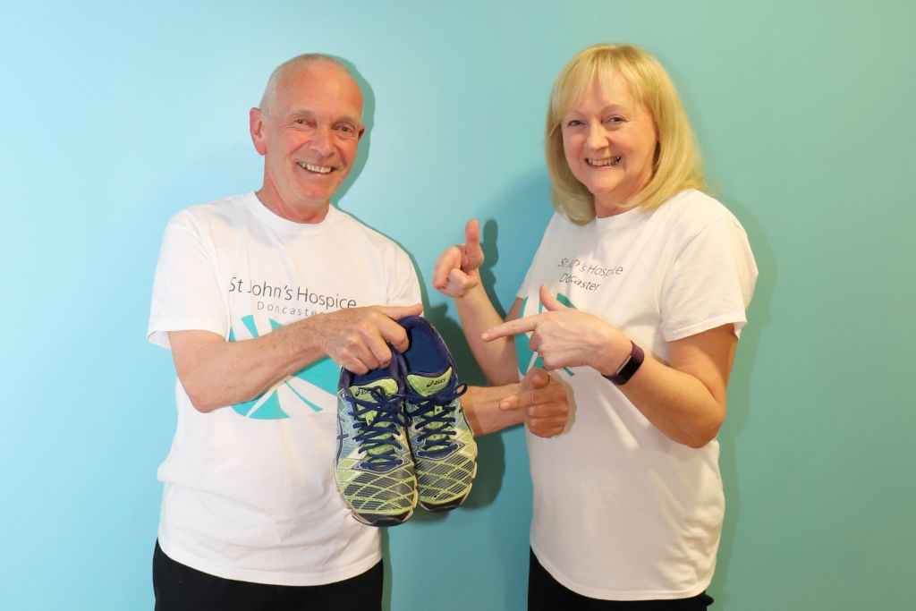(left to right): Les Crownshaw is pictured with Lindsey Richards of the Hospice.