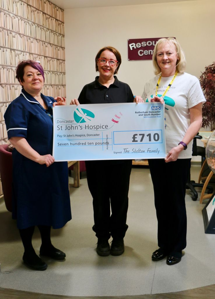 Heather Skelton (centre) is pictured with Jo Brooks (left) and Lindsey Richards (right) both of the Hospice.