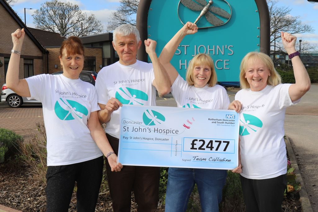 (left to right): Julie, Barry and Wendy pictured with Lindsey Richards, St John's Hospice.