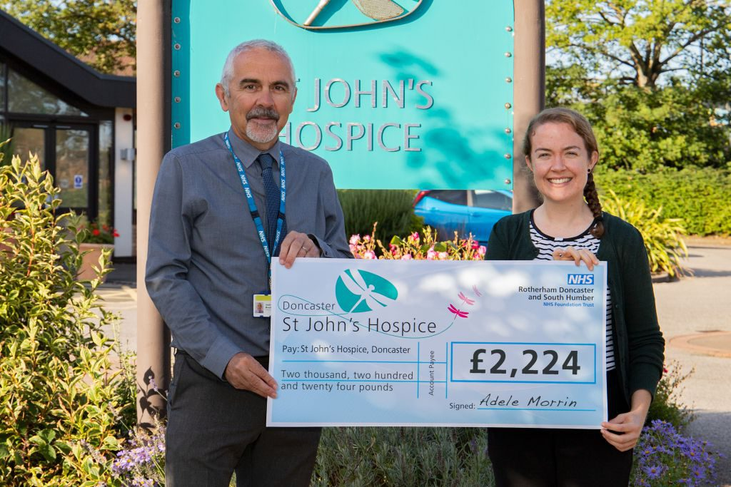 Pictured (left to right) Andrew Brankin, St John's Hospice Service Manager and Adele Morrin.