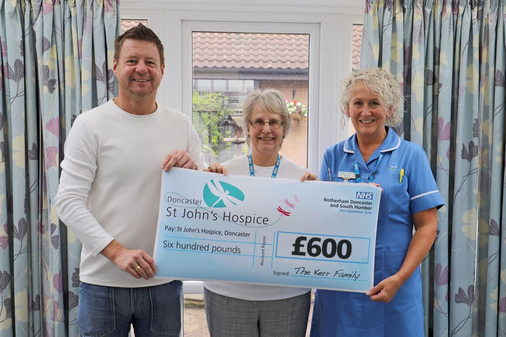 Pictured (left to right) Dylan Kerr, Maureen Harwood and Karen Gough of the hospice.