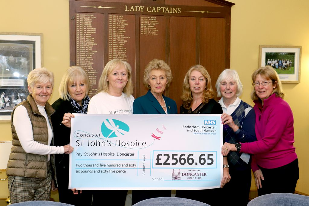 Pictured from Doncaster Golf Club (left to right) are: Geraldine Kaill; Judith Hudson; with Lindsey Richards, St John's Hospice; Carole D O'Neill, Kay Vickers; Denise Andrew and Vanessa Woodward.