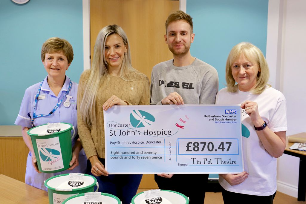 Left to right are: Janet Wilkinson, Nursing Assistant; Suzy Dix and Jacob Sykes from Tin Pot Theatre and Lindsey Richards, St John's Hospice Fundraiser.