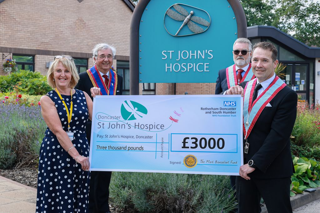 Pictured left to right are (front) Tracey Gaughan, hospice fundraiser; Jonnie Armstrong, of Thorne Mark Lodge; (backrow) Jim Stanley, Charity Steward for the Mark Benevolent Fund and Michael Bunce, Danum Mark Lodge.